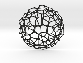 Coaster - Voronoi #9 (14 cm) in Black Natural Versatile Plastic