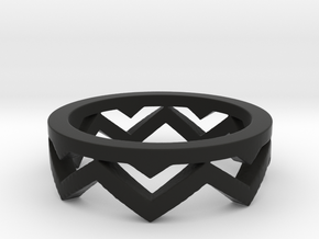 Chevron Ring in Black Strong & Flexible