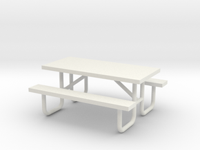 MOF Picnic Table Metal 6ft(1)[72-1] in White Natural Versatile Plastic