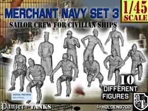 1-45 Merchant Navy Crew Set 3 in Smooth Fine Detail Plastic