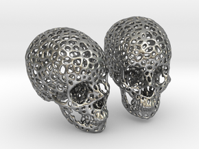 Human Skull Voronoi Style in Natural Silver