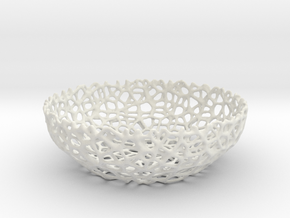 Voronoi bowl (20 cm) - Style #8 in White Natural Versatile Plastic