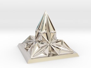 Pyramid Arcology in Rhodium Plated Brass