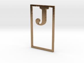 Bookmark Monogram. Initial / Letter  J  in Natural Brass