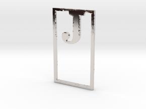 Bookmark Monogram. Initial / Letter  J  in Rhodium Plated Brass