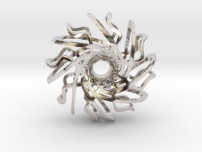 Spiral Ring Pendant in Rhodium Plated Brass