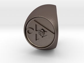 Custom Signet Ring 32 in Polished Bronzed Silver Steel