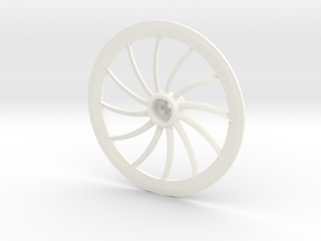 Turbine Hubcap Without Axle--LH in White Processed Versatile Plastic