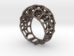 Voronoi Cell Ring  (Size 60) in Polished Bronzed Silver Steel