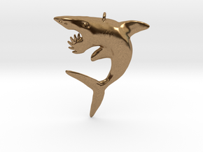 Helicoprion Pendant in Natural Brass
