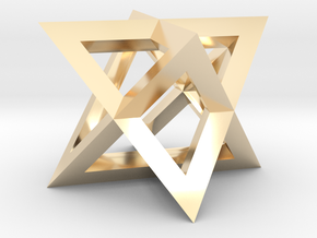 Mini-Merkaba - Sharp - Thin - 1cm in 14K Yellow Gold