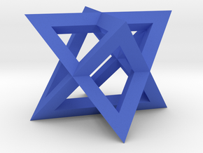 Mini-Merkaba - Sharp - Thin - 1cm in Blue Processed Versatile Plastic