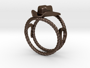 Cowboy Hat Ring Size 13  in Polished Bronze Steel