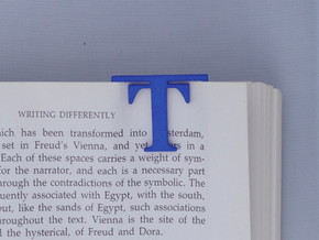 Bookmark Monogram. Initial / Letter T in Blue Strong & Flexible Polished