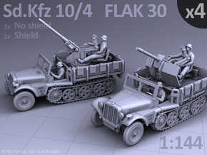 Sd.Kfz 10/4  FLAK 30  (4 pack) in Smooth Fine Detail Plastic