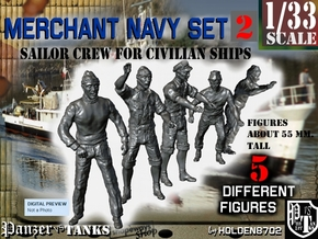 1-33 Merchant Navy Crew Set 2 in Smooth Fine Detail Plastic