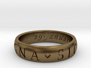 Size 12.5 Sir Francis Drake, Sic Parvis Magna Ring in Natural Bronze