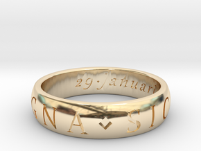 Size 12.5 Sir Francis Drake, Sic Parvis Magna Ring in 14K Yellow Gold