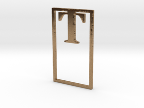Bookmark Monogram. Initial / Letter T in Natural Brass