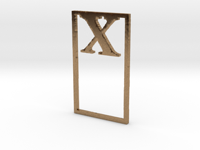 Bookmark Monogram. Initial / Letter X  in Natural Brass