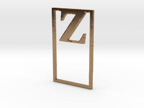 Bookmark Monogram. Initial / Letter Z  in Natural Brass