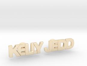 "Custom Name Cufflinks - ""Kelly & Jedd"" in 14k Gold Plated Brass"