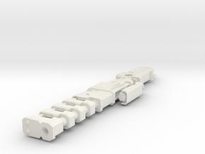 1/6th Scale Railgun Extended (7.84inches) in White Natural Versatile Plastic