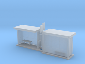 Bus Stop Frosted - HO 87:1 Scale Qty (2) in Smooth Fine Detail Plastic