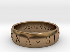 Size 8 Sir Francis Drake, Sic Parvis Magna Ring in Natural Brass