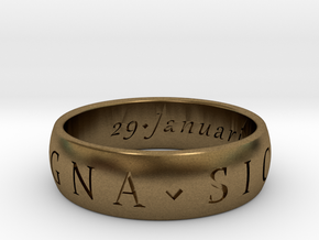 Size 8 Sir Francis Drake, Sic Parvis Magna Ring in Natural Bronze