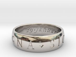Size 8 Sir Francis Drake, Sic Parvis Magna Ring in Platinum