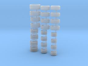 3 Felgensätze mit Reifen für H0 / 1:87 PKW´s in Smooth Fine Detail Plastic