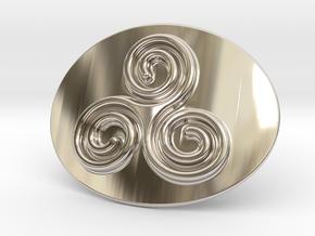 Triskell Belt Buckle in Rhodium Plated Brass