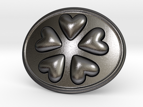 Round Dance Of Hearts Belt Buckle in Polished and Bronzed Black Steel