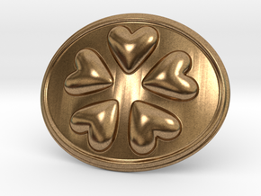 Round Dance Of Hearts Belt Buckle in Natural Brass