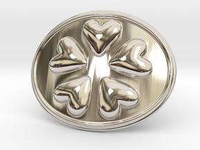 Round Dance Of Hearts Belt Buckle in Rhodium Plated Brass