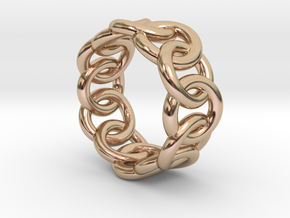 Chain Ring 19 – Italian Size 19 in 14k Rose Gold Plated Brass