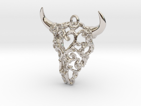 Filigree Bison Skull in Rhodium Plated Brass
