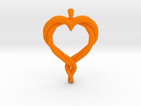 Twisted Heart in Orange Processed Versatile Plastic