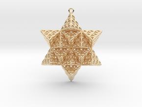 "Flower of Life TetraStar 2.2"" in 14k Gold Plated Brass"