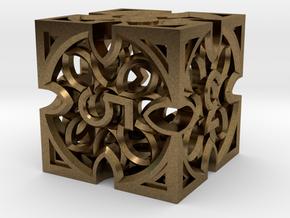 Gothic Rosette d6 in Natural Bronze