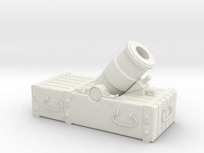 """18th-Century 8"""" Mortar on Small Sled - 1/24 Scale in White Natural Versatile Plastic"""