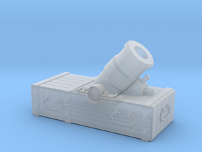 """18th-Century 8"""" Mortar on Small Sled - 1/24 Scale in Smooth Fine Detail Plastic"""