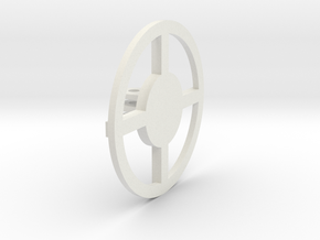 Round Base 3 Prong 01 in White Natural Versatile Plastic