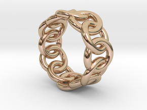 Chain Ring 28 – Italian Size 28 in 14k Rose Gold Plated Brass