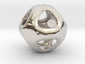 Conway Polyhedron {lseehO} in Rhodium Plated Brass