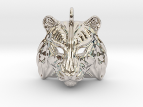 Tiger Pendant in Rhodium Plated Brass