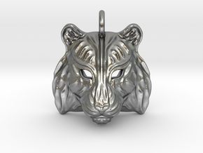 Tiger Small Pendant in Natural Silver