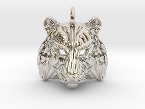 Tiger Small Pendant in Rhodium Plated Brass