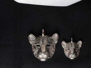 Leopard Small Pendan in Polished Bronzed Silver Steel